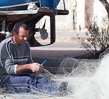 Net Repair - M'Xlokk Malta. by Patrick Anastasi