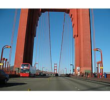 Doubledecker Bus on the Golden Gate Bridge Photographic Print