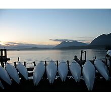 Kayaks at Sunset in Tofino, Vancouver Island, Canada Photographic Print