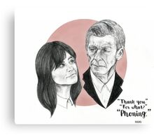 """Thank You For Phoning"" Clara and the Twelfth Doctor Canvas Print"