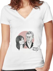 """""""Thank You For Phoning"""" Clara and the Twelfth Doctor Women's Fitted V-Neck T-Shirt"""