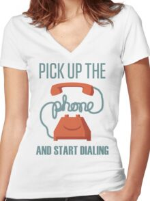Pick Up The Phone And Start Dialing Quote, Jordan Belfort Women's Fitted V-Neck T-Shirt