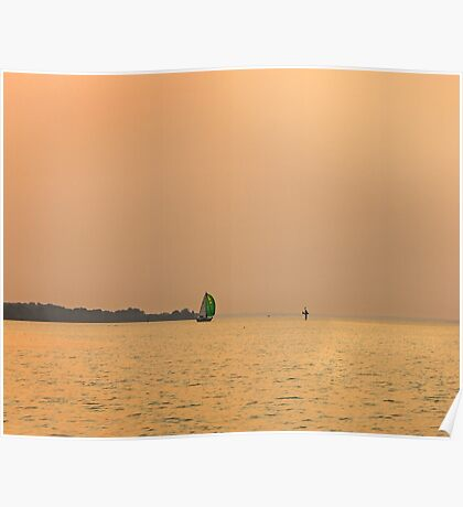 Green Sails at Sunset Poster