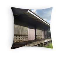 Old Gold Train Station Throw Pillow