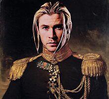 Thor Chris Hemsworth old fashioned vintage portrait by sacroslash