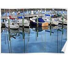 Masts In The Reflected Blue Poster