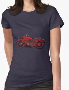 red vintage motorcycle Womens Fitted T-Shirt