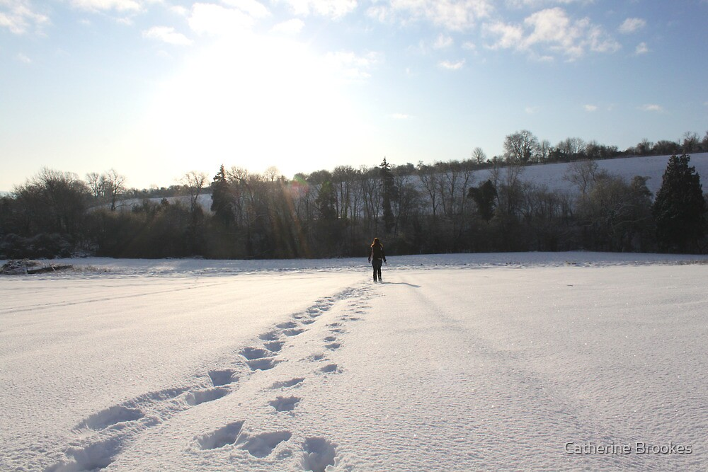Footprints in the snow by Catherine Brookes