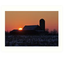 Sun disappearing behind the barn Art Print