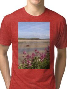 Boat At Low Tide At Padstow, Cornwall Tri-blend T-Shirt
