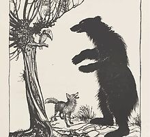 Aesop's Fables art by Arthur Rackham 1913 0090 The Fox and the Bear by wetdryvac