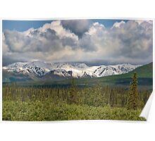 snow capped peaks of the Alaska Mountain Range Poster