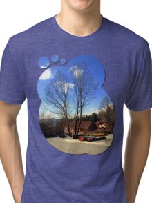Trees and a farm in winter wonderland | landscape photography Tri-blend T-Shirt