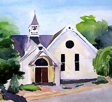 Merrimacport, MA Church by watercolors1
