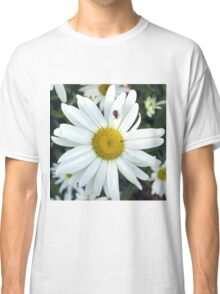 White Daisy Flower and Ladybug  Classic T-Shirt