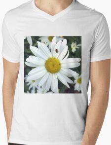 White Daisy Flower and Ladybug  Mens V-Neck T-Shirt