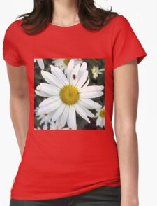 White Daisy Flower and Ladybug  Womens Fitted T-Shirt