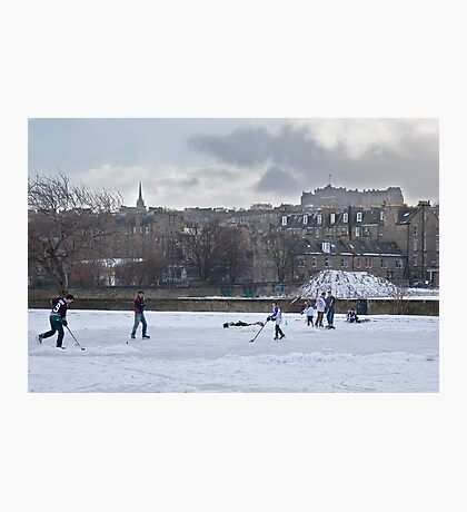 Ice Hockey and Edinburgh Castle Photographic Print