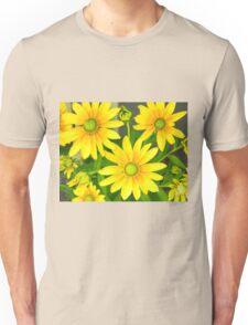 Yellow Summer Cone Flowers in the Garden Unisex T-Shirt