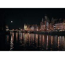 Motlawa river at night, Gdansk Photographic Print