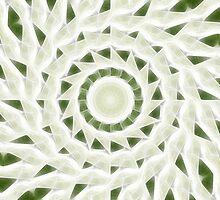 Green White Kaleidoscope Art 11 by Christopher Johnson
