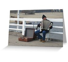 Busker on Sopot Pier - E is for Entertainer Greeting Card