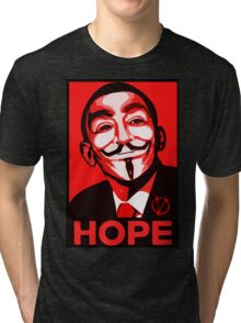 V for Vendetta, Anonymous Mask Obama Sign, HOPE Tri-blend T-Shirt