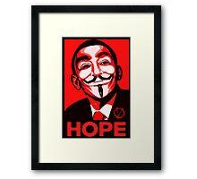 V for Vendetta, Anonymous Mask Obama Sign, HOPE Framed Print