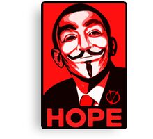 V for Vendetta, Anonymous Mask Obama Sign, HOPE Canvas Print