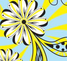 Blue Yellow Flower Paisley Black Polka Dot Sticker