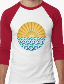 Sunrise and Blue Ocean Waves Men's Baseball ¾ T-Shirt