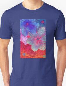 Between the Lines 2 - tropical flowers in purple, pink, blue & orange Unisex T-Shirt