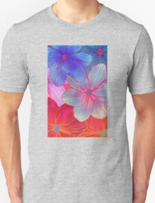 Between the Lines 2 - tropical flowers in purple, pink, blue & orange T-Shirt