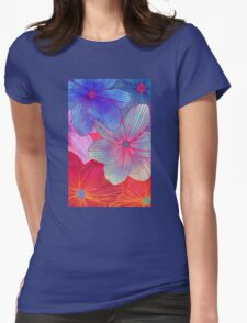 Between the Lines 2 - tropical flowers in purple, pink, blue & orange Womens Fitted T-Shirt
