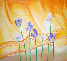 Pansies and a yellow curtain. by Jodi Cox