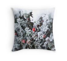 Red Berry in the Snow Throw Pillow