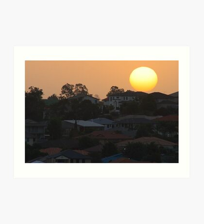Sunset over the suburb Art Print