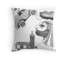 The Little Dog Drove Over The Moon Throw Pillow
