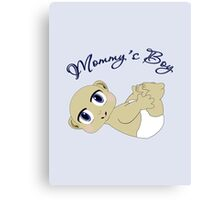 Mommy's Boy Bald and Blue Eyes Canvas Print