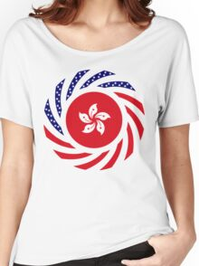 Hong Kong American Multinational Patriot Flag Series Women's Relaxed Fit T-Shirt