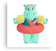Nervous Beachy Hippo Canvas Print