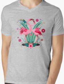 LOVE & FLAMINGO  Mens V-Neck T-Shirt