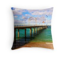 Brighton Jetty landscape Throw Pillow