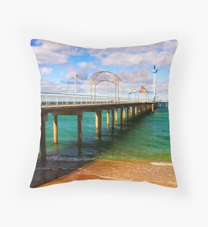 Brighton Jetty landscape Throw Pillow
