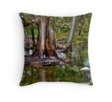 Spoonbill under the Gum Trees Throw Pillow