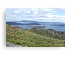 View over the Atlantic Ocean from Mountains in Ballinskelligs Canvas Print