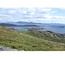 View over the Atlantic Ocean from Mountains in Ballinskelligs Photographic Print