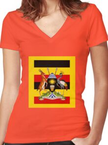 UGANDA Women's Fitted V-Neck T-Shirt