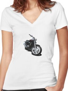 Candy Red Flamed Cruiser Women's Fitted V-Neck T-Shirt