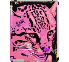 Hot pink painted Ocelot Cat art iPad Case/Skin